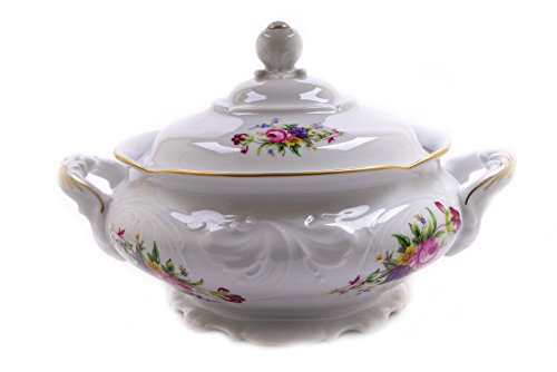 Royal Kent Roses Flowers Trimmed in Gold Large Soup Tureen Casserole Dish ()