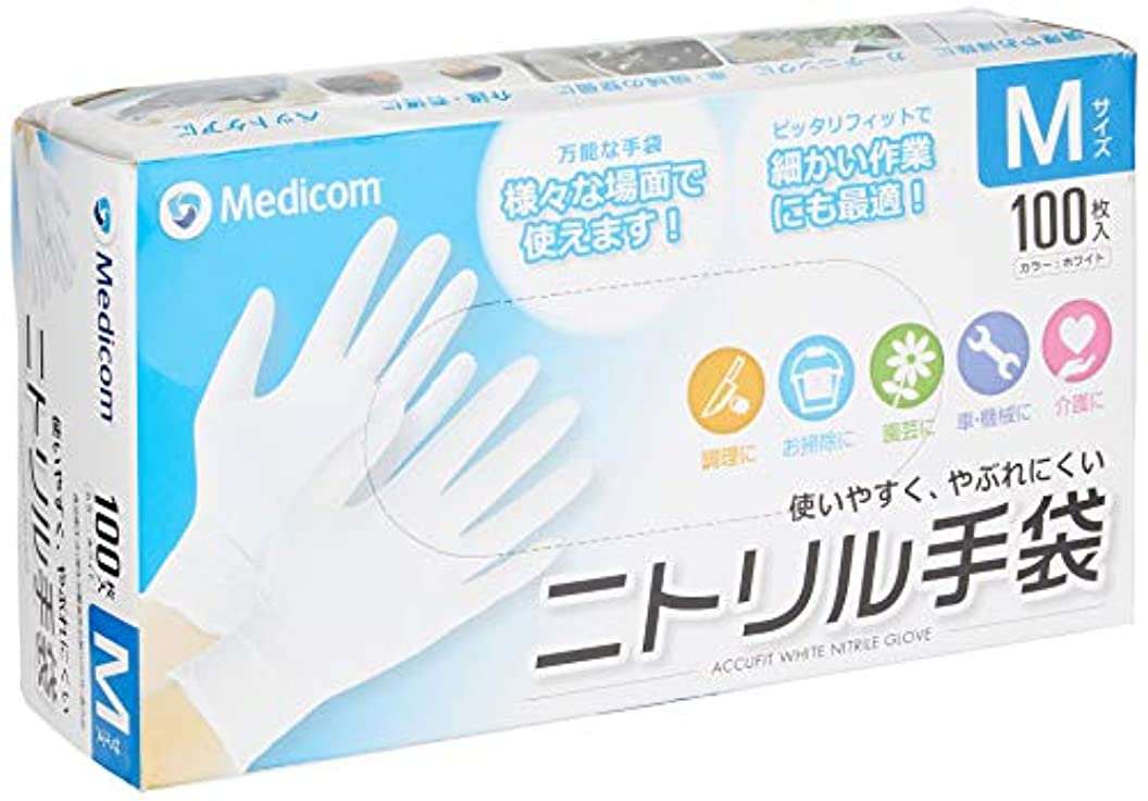 可塑性時代イノセンスアキュフィット ホワイト ニトリル手袋 Mサイズ ACFJN1284C