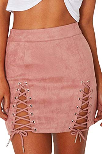 - Women's Cute High Waist Lace up Bodycon Faux Suede Split Tight Mini Skirt Pink S