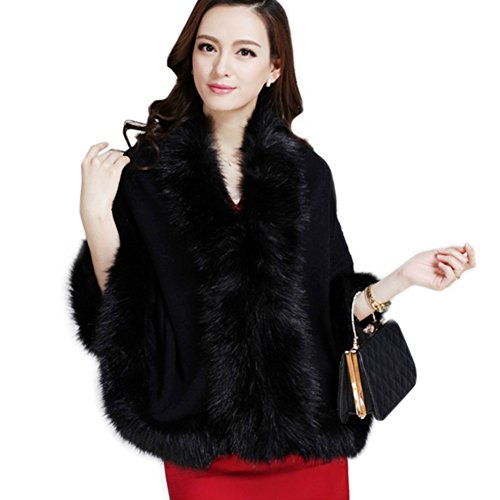 Faux Fur Trim Black Sweater - 3