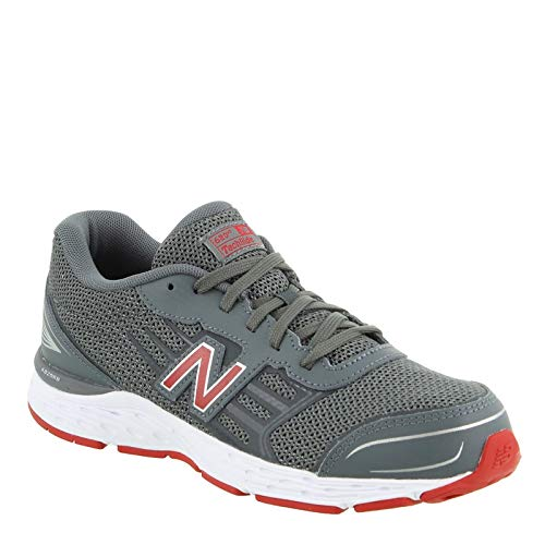 New Balance Boys' 680v5 Running Shoe, Lead/red, 3 M US Little Kid