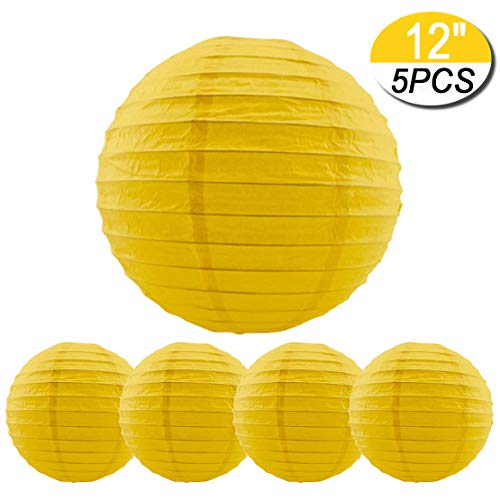 5 Packs Yellow Round Paper Lanterns Chinese Lanterns 12 inch Large Hanging Ball Decorations for Halloween Birthday Bridal Wedding Baby Shower Parties Assorted Sizes (Yellow, 12'')