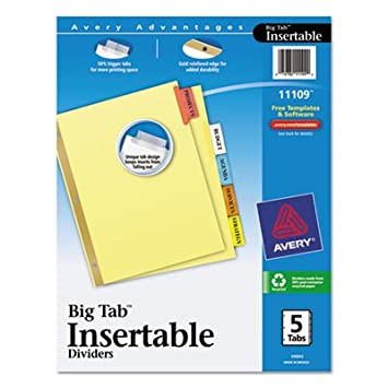amazoncom ave11109 insertable big tab dividers office products