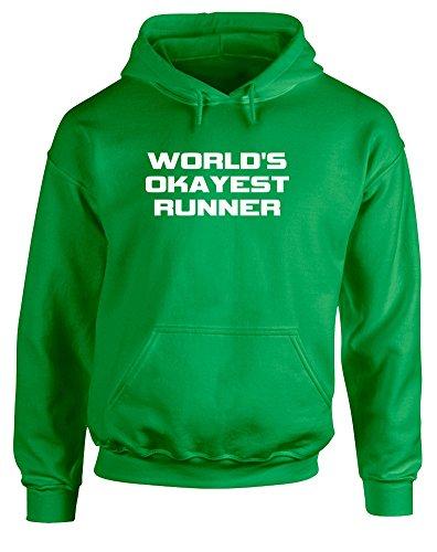 Brand88 World's Okayest Runner, Printed Hoodie - Irish Green/White - Twitter World Runners