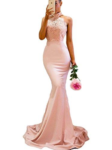 Neckline Sweep Train Satin - SDRESS Women's Lace Appliques Illusion Long Mermaid Skirt Bridesmaid Prom Dress Pearl Pink Size 4