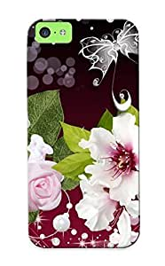 Inthebeauty Premium Protective Hard Case For Iphone 5c- Nice Design - Elegant Flowers