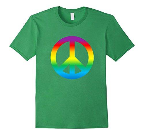 Mens Rainbow Peace Sign T Shirt Hippy 1960s Large Grass