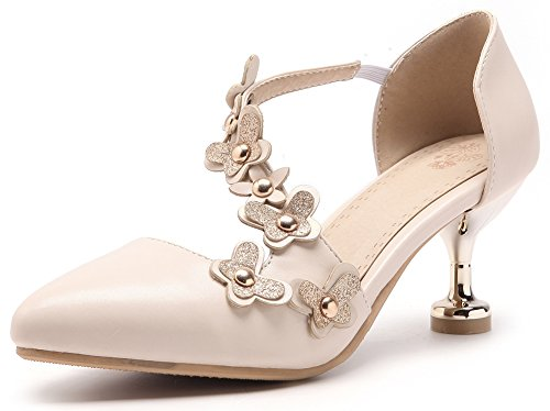 Buckle Mid Wedding Toe Stiletto Flowers For Womens Sweet Pumps IDIFU Strap Apricot Pointed 4PRtxqawRW