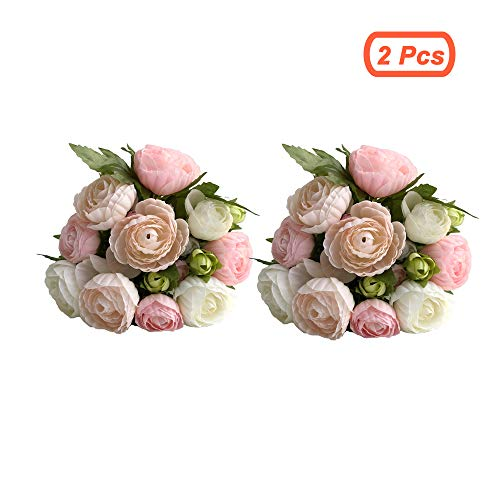 simoce Artificial Flowers 10 Heads Persian Buttercup Crowfoot Ranunculus Wedding Bride Hand Tied Bouquet Home Decoration Silk-Like Lustring Fake Décor Flowers. 7.9H x 6.3W inches. (White-Pink(2Pcs))