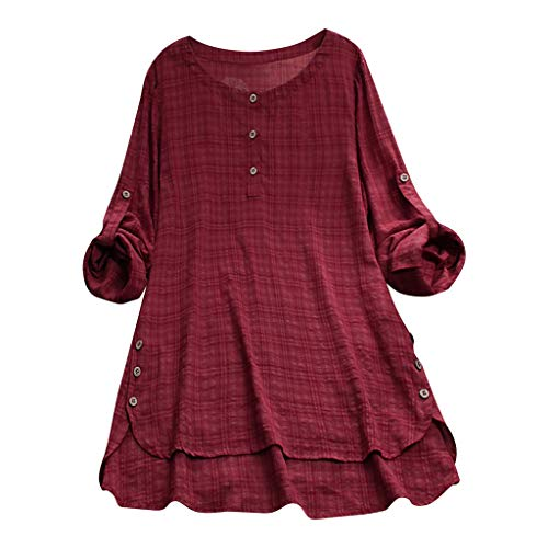 Ruby Denim Sweater - TUSANG Womens Casual Loose Linen Plus Size Plaid Button Shirt Tops Loose Lightweight Shirt for Women (Wine,US-14/CN-3XL)