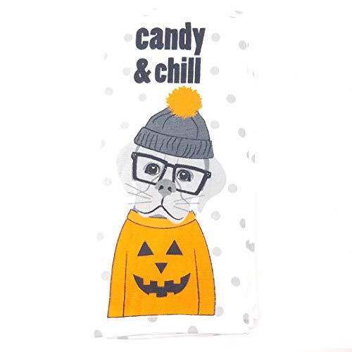 Cynthia Rowley Home Decor Kitchen Towel Set, Cotton, Candy & Chill Hipster Dog, Halloween, 2 Piece Set -