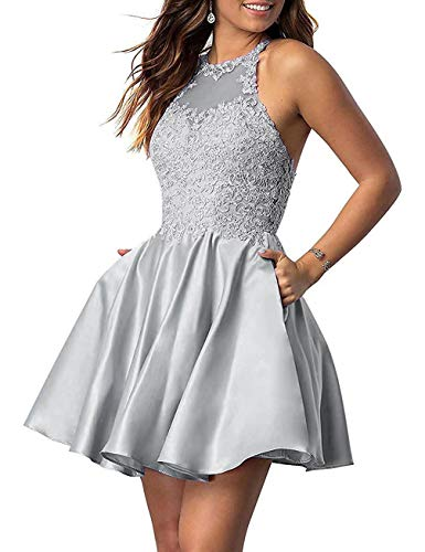 Woman's Short Homecoming Dresses for Juniors Lace Halter Neckline with Pockets (Light Grey-4)