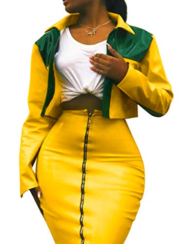 Club Jacket 2 (Sedrinuo Sexy 2 Piece Outfits Long Sleeve Light PU Top and Skirt Party Club Dress Sets, Yellow, 8/10)