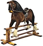 """Shire Horse in BAY colour"" Handmade Rocking Horse MARS IV Cheval à bascule MJmark"