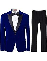 Mens 2-Piece Suit Peaked Lapel One Button Tuxedo Slim Fit Dinner Jacket & Pants