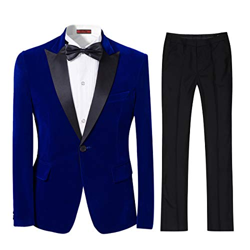 Mens 2-piece Suit Peaked Lapel One Button Tuxedo Slim Fit Dinner Jacket & Pants,Blue,Large -