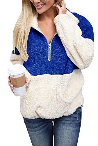 4x Fur - Yskkt Plus Size Sherpa Pullover Womens Sweatshirt Half Zip Fuzzy Fleece Jacket Winter Coat Outwear with Pockets (XXXXX-Large, Blue)