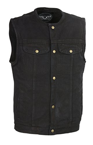 M-Boss Apparel - BOS13521 - Men's Snap Front Denim Club Style Vest w/Gun Pocket-BLACK-2XL by M-BOSS MOTORCYCLE APPAREL