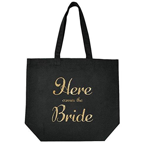 ElegantPark Novia Bolso de mano Negro Lona Escritura dorada 100% algodón Bolsa de regalo de boda 1 Pack Here Comes The Bride