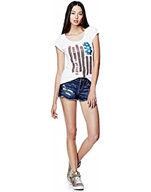 G by Guess Women's Jozi Flag T-shirt, Small