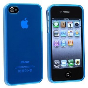 Importer520 TPU Rubber Skin Case compatible with Apple® iPhone® 4 / 4S (Clear Frost Dark Blue) (Rubber Iphone 4 Case)