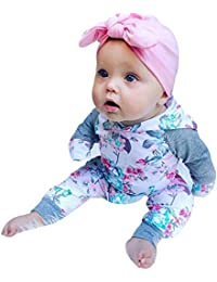 8eeee97950c4 Infant Baby Toddler Boys Girls Clothes Outfit Set Fall Winter New Floral  Hoodie Long Sleeve Tops