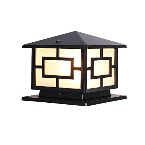 IP55 Rated Post Light Bollard Flood Lamp Glass Lantern Driveway Retro Outdoor Decor Pillar Wall Lantern Die-cast Aluminum Bronze Finish Antirust Sunscreen (Color : Black, Size : 303028cm)