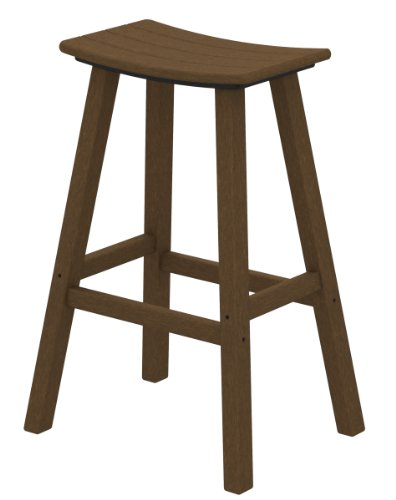 POLYWOOD 2002-TE Traditional Bar Height Saddle Seat Barstool, Teak
