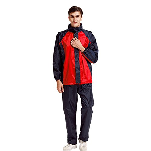 Bettery Durable Lightweight Waterproof Reflector Polyester Cycling Men's Rain Suit with Hoods for Outdoor Sports, Black and Red