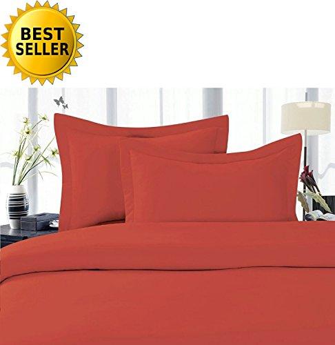 Celine LinenBest, Softest, Coziest Duvet Cover Ever! 1500 Thread Count Egyptian Quality Luxury Super Soft Wrinkle Free 3-Piece Duvet Cover Set, Full/Queen, Rust/Orange