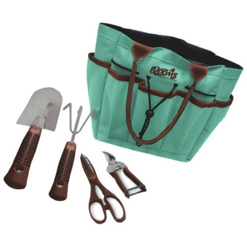 Blooms 5-Piece Gardening Tool Set (Teal Canvas Bag) Color: Teal Canvas Bag Outdoor, Home, Garden, Supply, Maintenance by Garden & Lawn Supply