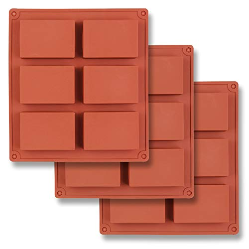 Rectangle Chocolate Mold - homEdge 6-Cavity Rectangle Silicone Mold, 3 Packs Rectangle Molds for Making Soap Bar, Resin, Chocolate, Soap Candles and Jelly-Brown
