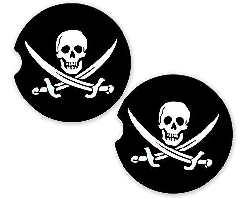 Pirate Jack Rackham Flag Sandstone Car Cup Holder Matching Coaster Set by BrownInnovativeMedia