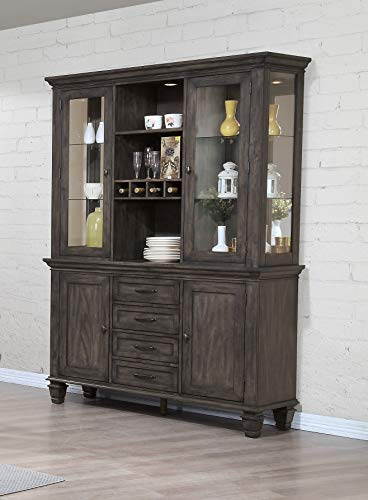 - Sunset Trading DLU-EL-BH Shades of Gray China Cabinet, Weathered Grey