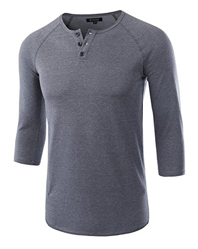 l Raglan Fit Soft Baseball 3/4 Sleeve Henley T-Shirts Tee Cadet Blue M ()