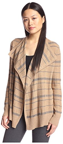 Cashmere Flannel (Cashmere Addiction Women's Plaid Cascade Cardigan, Wood/Flannel, XL)