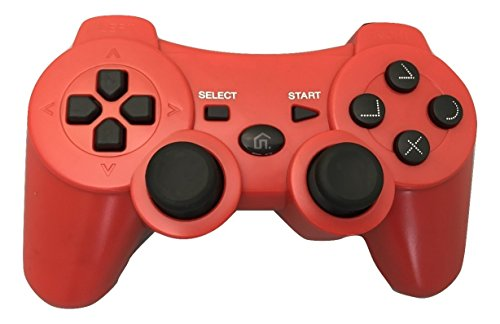 Ps3 Red Wireless Controller - Bek Design Wireless controller for Playstation 3 PS3 (Red)