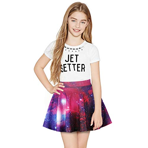 Coolest Skater Skirt For Teen Girls Mini Pleated Scooters (7-10T),Wesracia 3D Print Mini Skirts for Big Girls(Purple,9T) ()