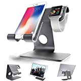 Cell Phone Stand, Apple Watch Stand, ZVEproof iWatch Charging Stand Station Desktop Cellphone Tablet Stand, Aluminum Apple Watch iWatch Charger Dock for Phone and iWatch (with 42mm Case), Grey
