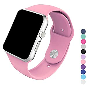 Piwjo Silicone Apple Watch Band and Replacement Iwatch Bands Series 1,Series 2,Series 3 (38mm M/L, Pink)