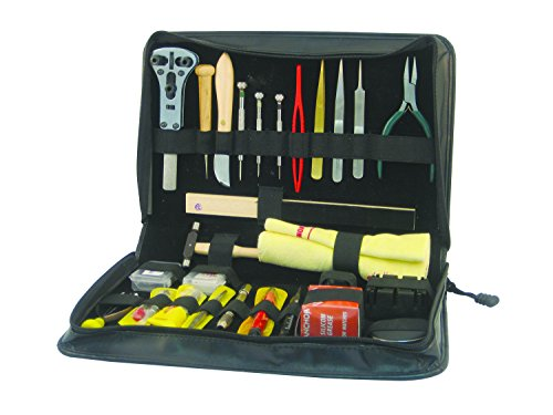 [Deluxe Watch Case Tool Kit w/ Over 20 Accessories & Leather Case] (Link Deluxe Adult Kit)