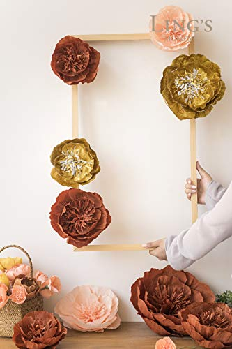 Ling's moment Large Paper Flower, 5 X Gold Flowers, Handcrafted Paper Flowers, Giant Crepe Paper Flowers, Paper Flower Decoration for Wedding Backdrop Nursery Gold Party Bridal Shower Archway Decor by Ling's moment (Image #4)