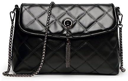 レディーLinggeチェーンバッグシンプルなメッセンジャーショルダーバッグファッションクラシックハンドバッグウォレットを送る (Color : Black)