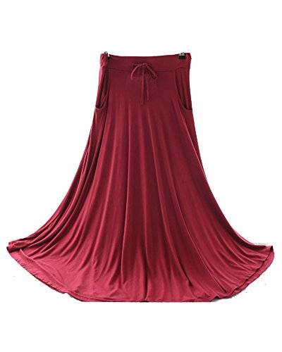 Femme Casual Retro Une Jupe Longue Swing Cordelette Fluide Maxi Jupe Vin Rouge