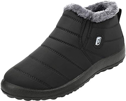 FEETCITY Slip on Snow Boots for Men,Anti-Slip Lightweight Ankle Bootie with Fully Fur Black Men 10 ()