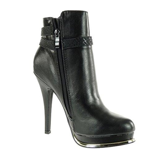 Angkorly - damen Schuhe Stiefeletten - Plateauschuhe - Sexy - Stiletto - String Tanga - Schlangenhaut - golden Stiletto high heel 12 CM Schwarz