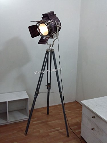 THORINSTRUMENTS (with device) COLLECTIBLE SEARCHLIGHT SPOTLIGHT COVERD LEATHER WITH GREY TRIPOD FLOOR LAMP