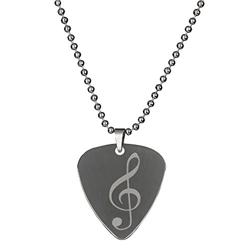 PUNK Stainless Steel Pick Necklace for Electric Bass Guitar Variety Creative Designs (6A)]()