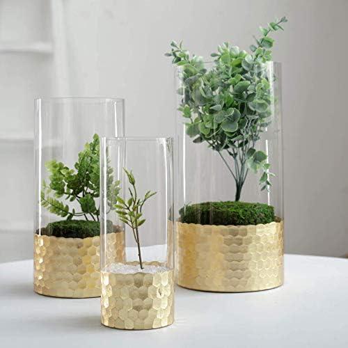 Efavormart Set of 3 Glass Cylinder Vases with Gold Honeycomb Base Glass Candle Holders – 8 10 12