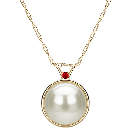 14k Yellow Gold 2mm Simulated Ruby 9-9.5mm White Freshwater Cultured Pearl Bezel Design Pendant, 18